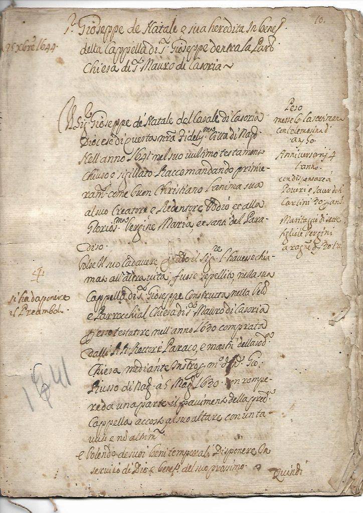 Testamento di Giuseppe di Natale 1644